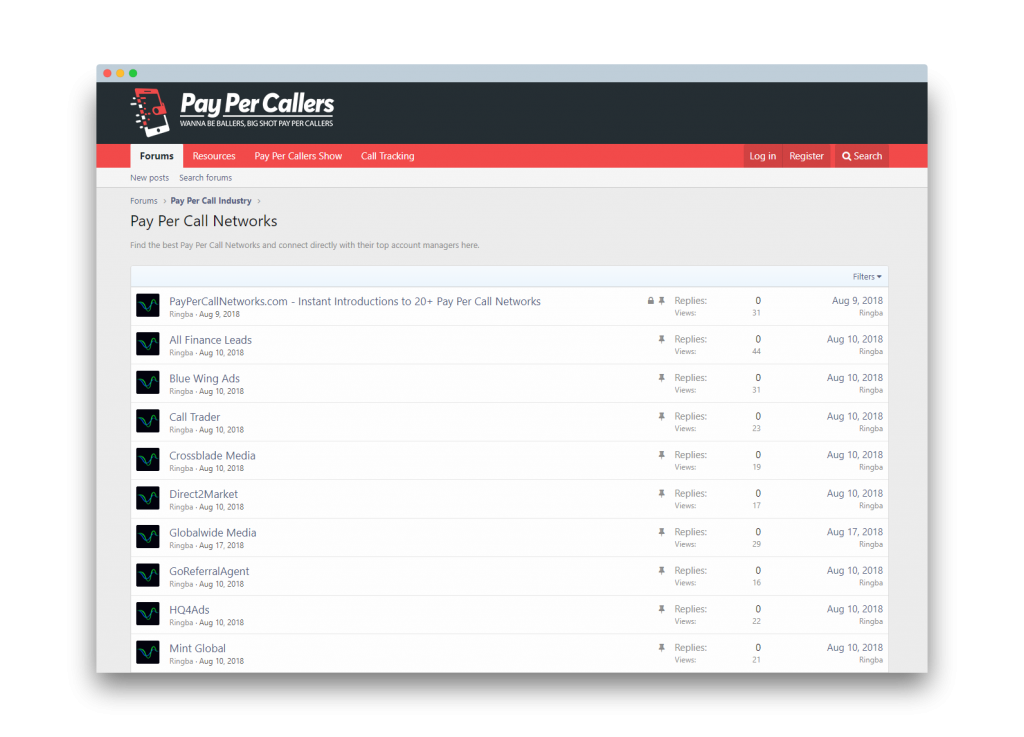 PayPerCallers.com - Exclusive Online Community for the Pay Per Call Industry