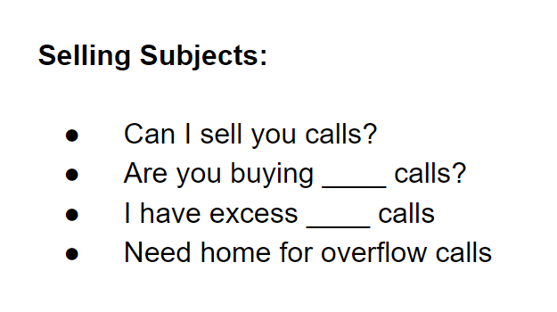 Example Seller Subject Lines for Outreach