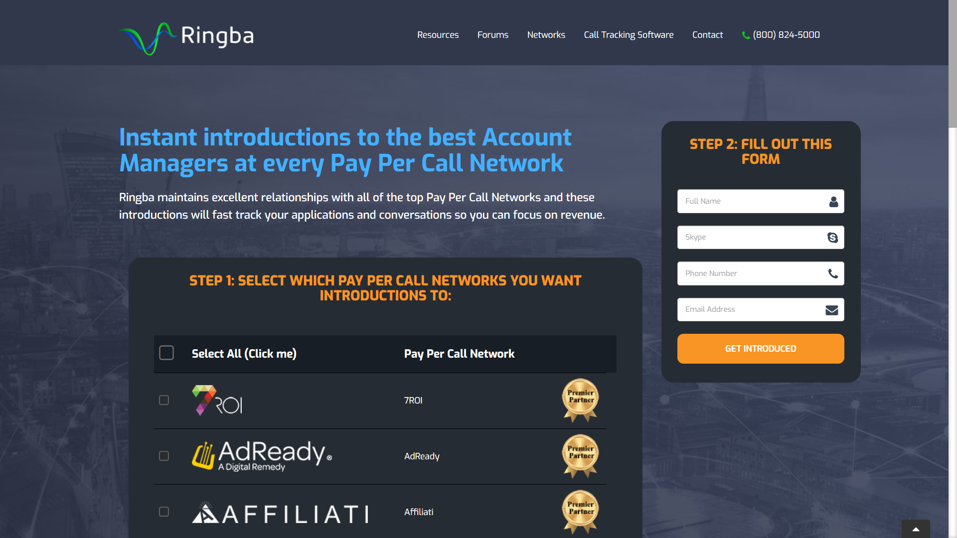 Ringba Introductions to Pay Per Call Networks