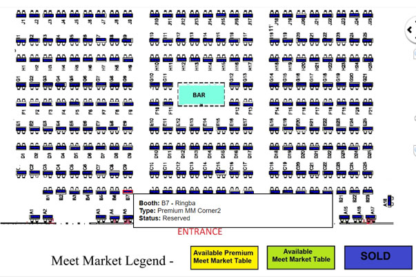 Trade Show Map for Affiliate Summit West Meet Market - Business Development for Pay Per Call