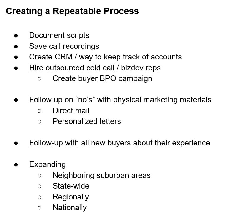 Creating a Repeatable Process - Creating a Pay Per Call Buyer Network