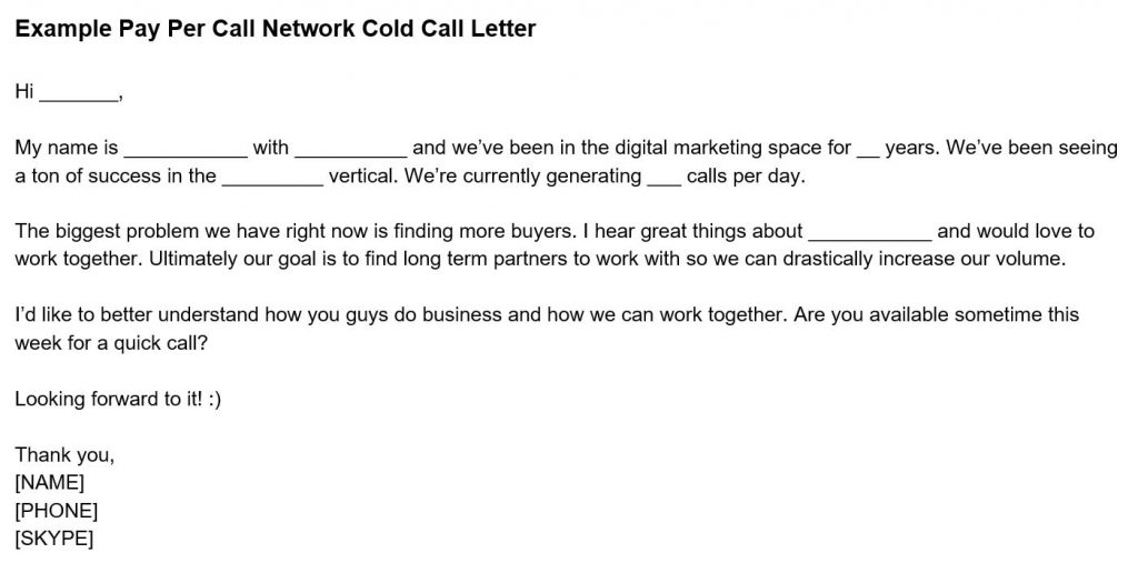 Example Pay Per Call Network Cold Call Letter - Business Development for Pay Per Call