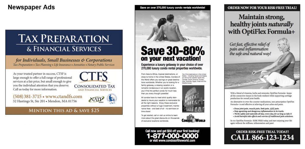 Newspaper advertisement examples
