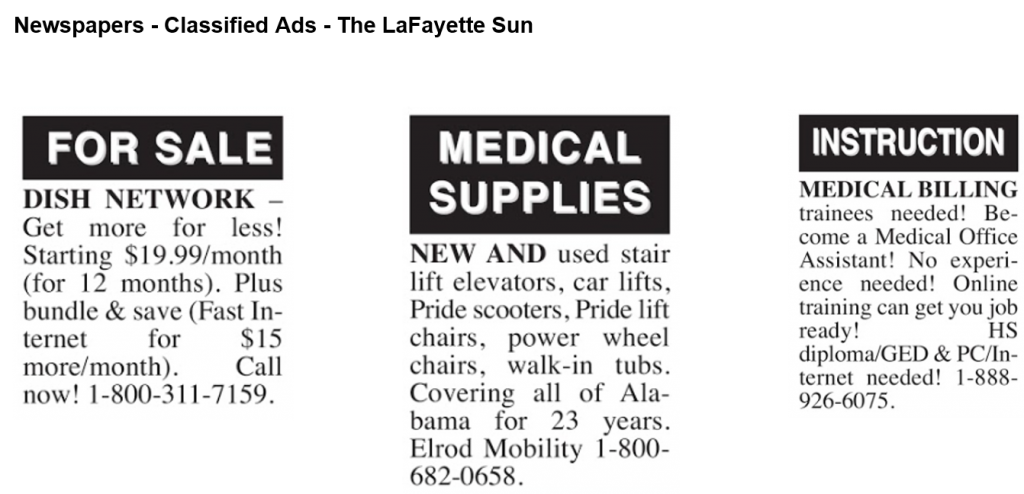 Newspaper classified ads example #1