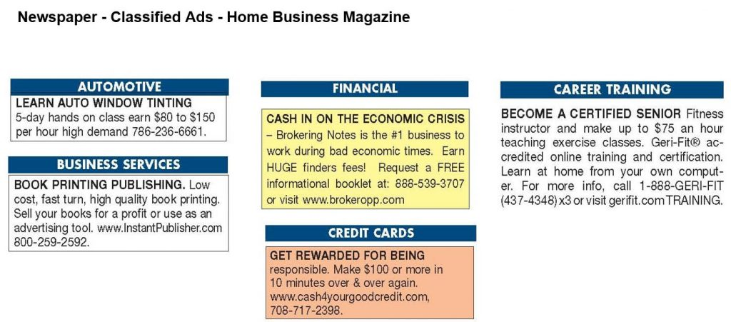 Newspaper classified ads example #2
