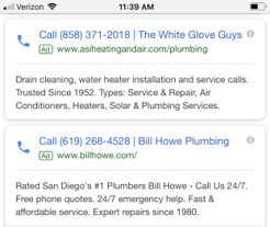 Paid Search Pay Per Call advertising example