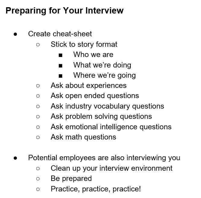 Preparing for your job interview cheat sheet