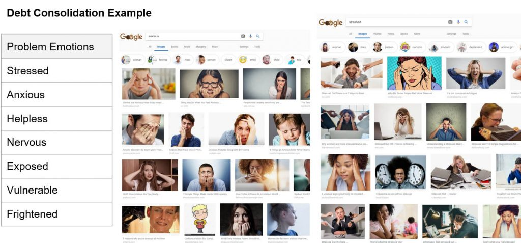 Finding and Using Images for Creating Emotions - debt consolidation example
